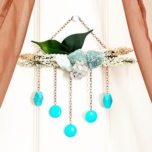 Green aventurine and turquoise wall hanging